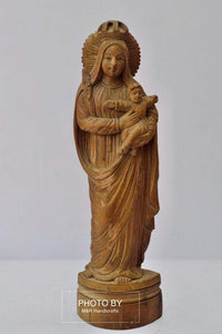 Antique Sandalwood Carved Mother Mary with Infant Jesus statue - Malji Arts