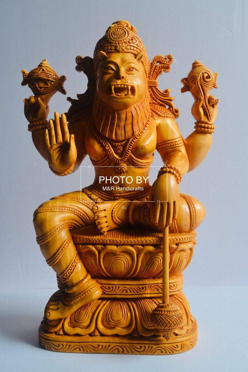 Wooden Fine Carved Lord Narasimha Statue - Malji Arts