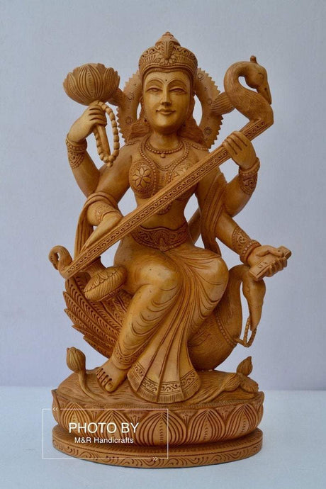 Beautifully Hand Carved Wooden Goddess Saraswati Statue - Malji Arts