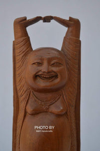 Vintage Sandalwood Carved Happy Man Laughing Buddha Statue - Malji Arts