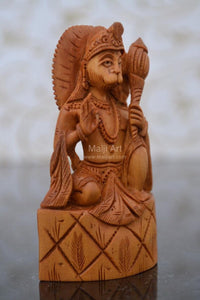 Sandalwood Carved Small Lord Hanumana Miniature Statue - Malji Arts