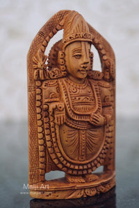 Sandalwood Beautifully Carved Small TIRUPATI BALAJI Statue - Malji Arts