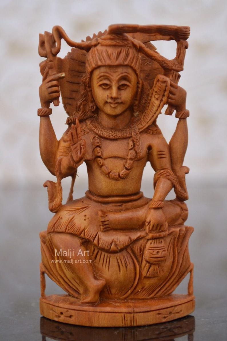 Sandalwood Carved Small Shiva Miniature Idol for gift - Malji Arts