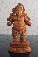 Load image into Gallery viewer, Wooden Fine Hand Carved Standing Baby Krishna Laddu Gopal Statue - Malji Arts
