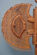 Load image into Gallery viewer, Sandalwood Unique Beautiful Krishna Collective Miniature Carved Hand Fan - Malji Arts