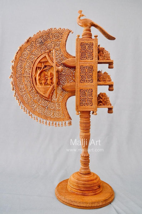 Sandalwood Unique Beautiful Krishna Collective Miniature Carved Hand Fan - Malji Arts