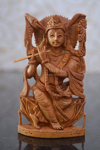 Sandalwood Carved Small Krishna Miniature idol - Malji Arts