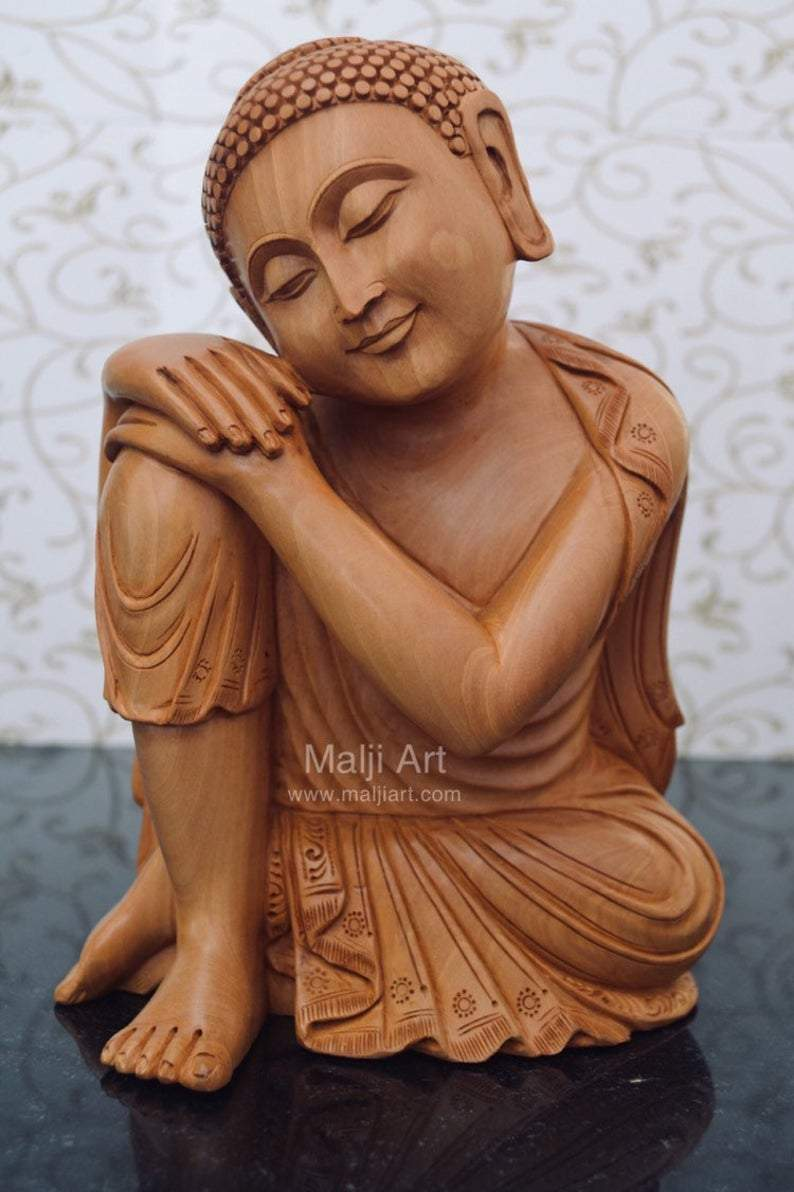 Fine Wood Carved Smiling Resting Buddha Statue - Malji Arts