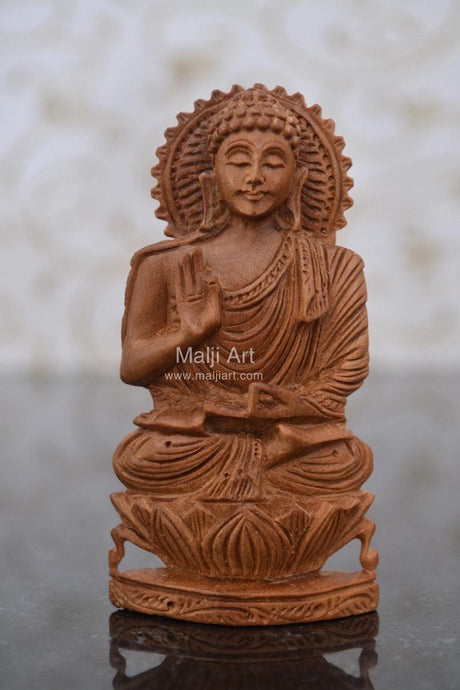 Sandalwood beautiful Hand Carved Buddha Statue - Malji Arts