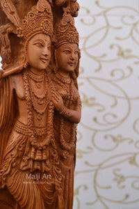 Sandalwood Fine Carved Radha Krishna Under Tree - Malji Arts