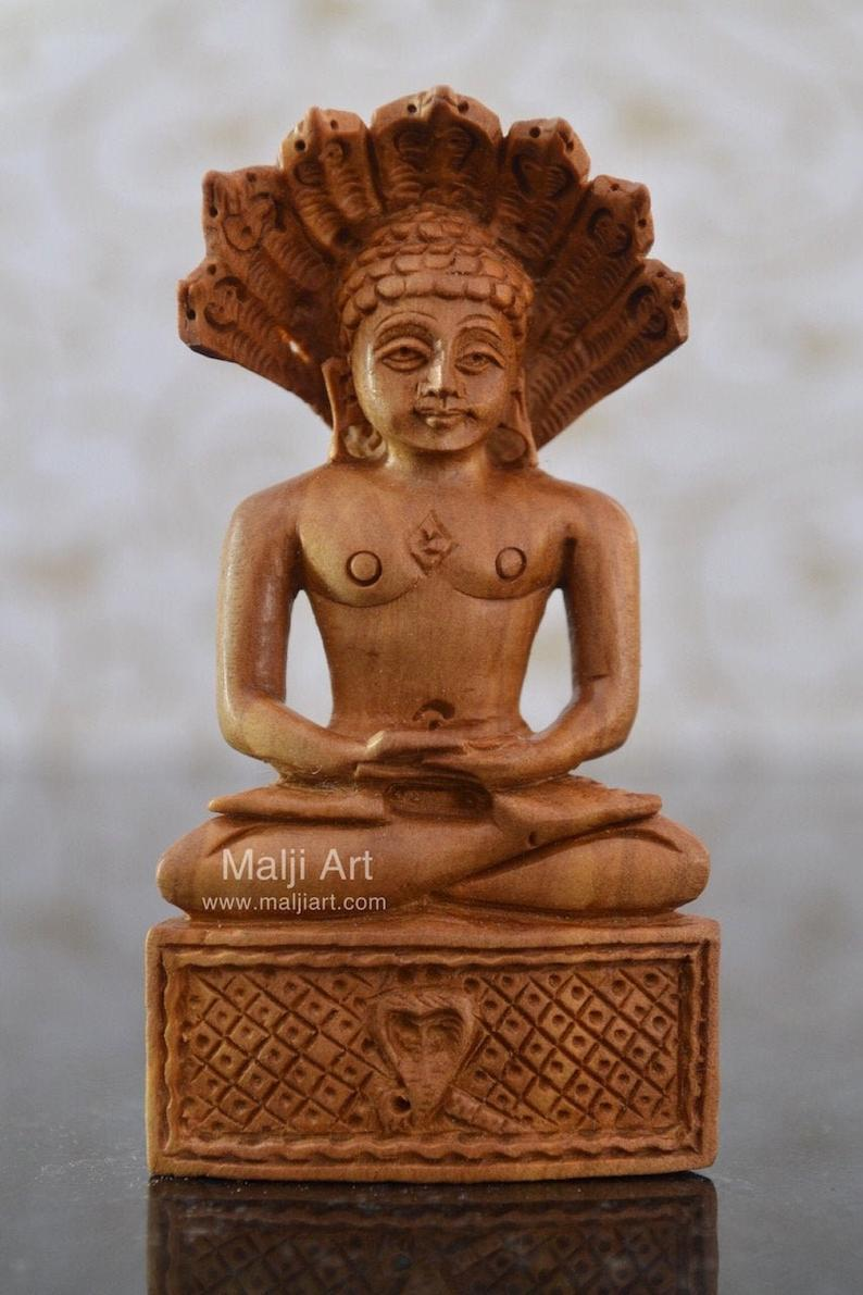 Sandalwood Beautifully Carved PARASNATH BHAGWAN - Malji Arts