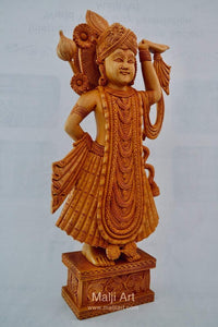 Wooden Fine Hand Carved Lord Shrinath Ji Statue - Malji Arts