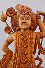 Load image into Gallery viewer, Wooden Fine Hand Carved Lord Shrinath Ji Statue - Malji Arts