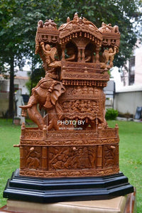 Sandalwood Fine Carved Royal Elephant Ambabari with Opening Base - Malji Arts