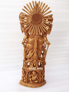 Wooden Fine High Quality Hand Carved Lord Vishnu Statue - Malji Arts