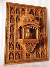 Load image into Gallery viewer, Sandalwood Carved Wall Hanging Jharokha of 24th Tirthankara of Jainism - Malji Arts