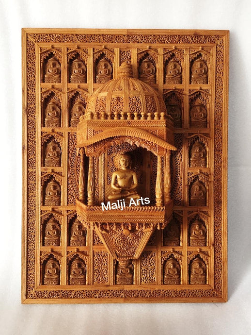Sandalwood Carved Wall Hanging Jharokha of 24th Tirthankara of Jainism - Malji Arts