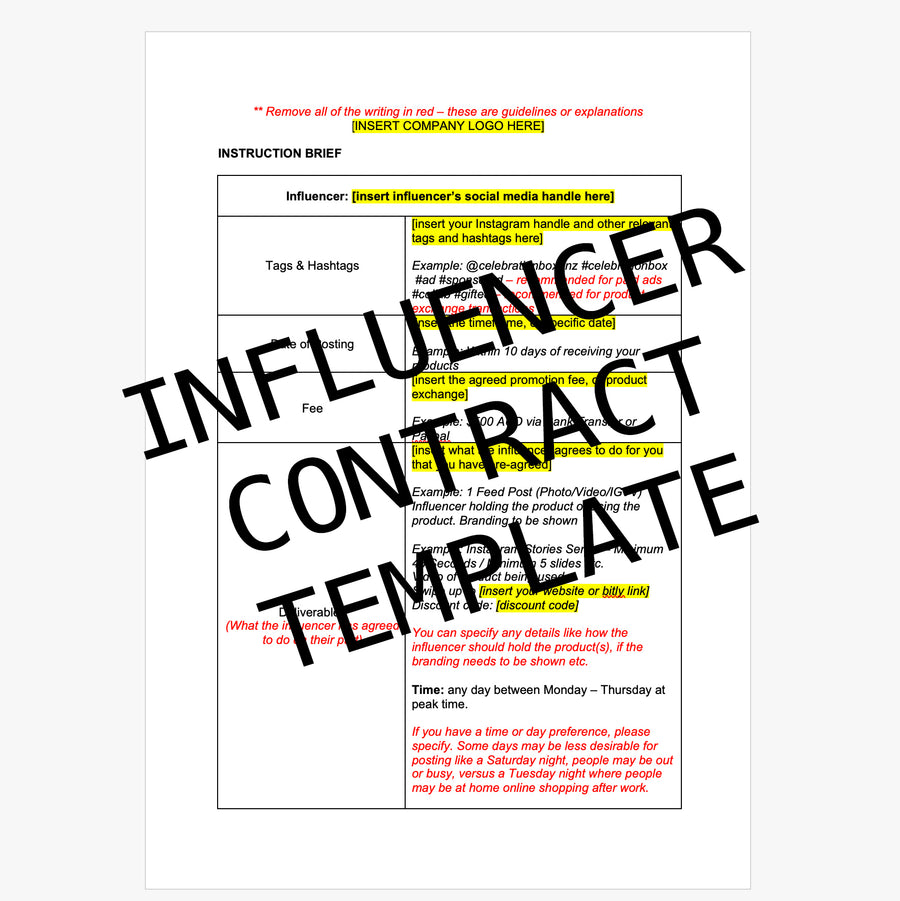 Influencer Contract & Brief Template
