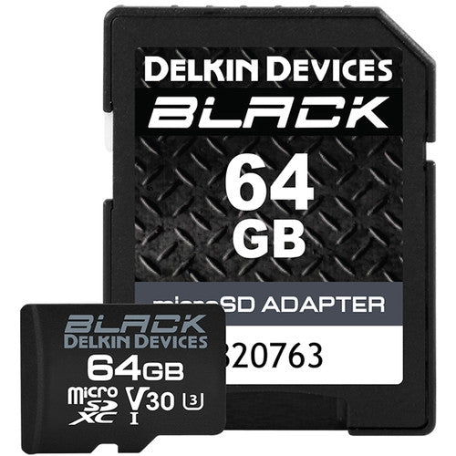 Delkin Devices 64GB BLACK UHS-I microSDXC Memory Card with SD Adapter
