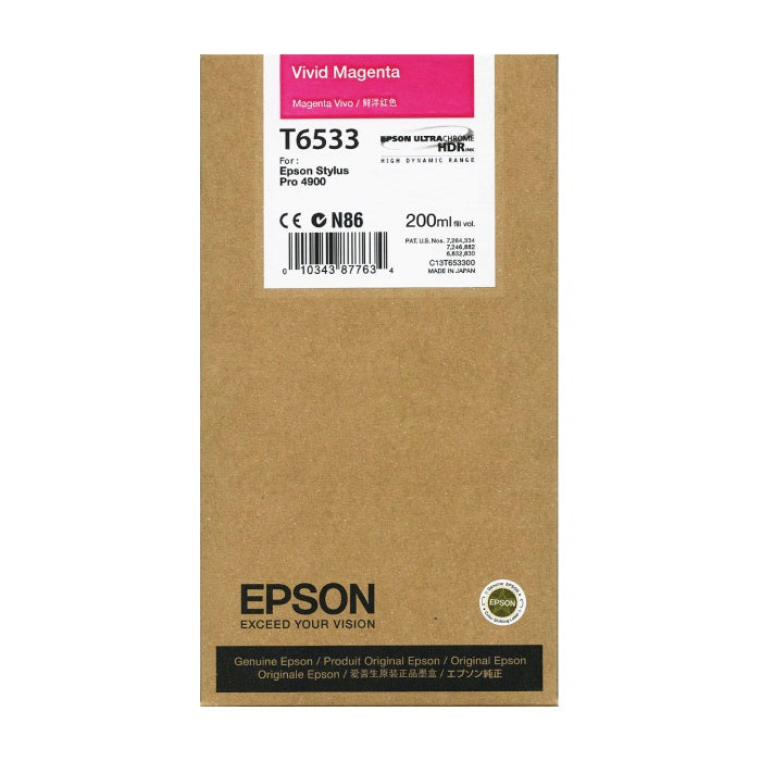 Epson UltraChrome HDR T6533 Vivid Magenta 200ml Ink Cartridge 4900