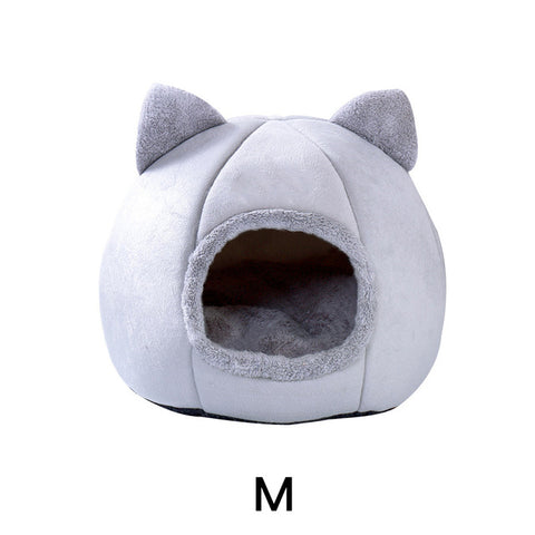 Removable Cat Bed Warm Pet Cat House Cave Winter Puppy Kitten Dog Cushion Mat Small Dogs Cats House Kennel Nest Indoor Winter
