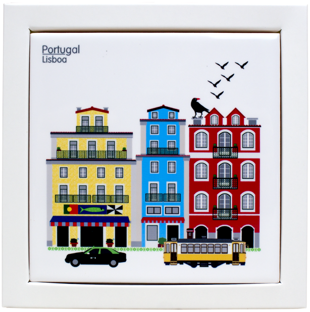 Lisboa Typical Houses Printed Tile coaster