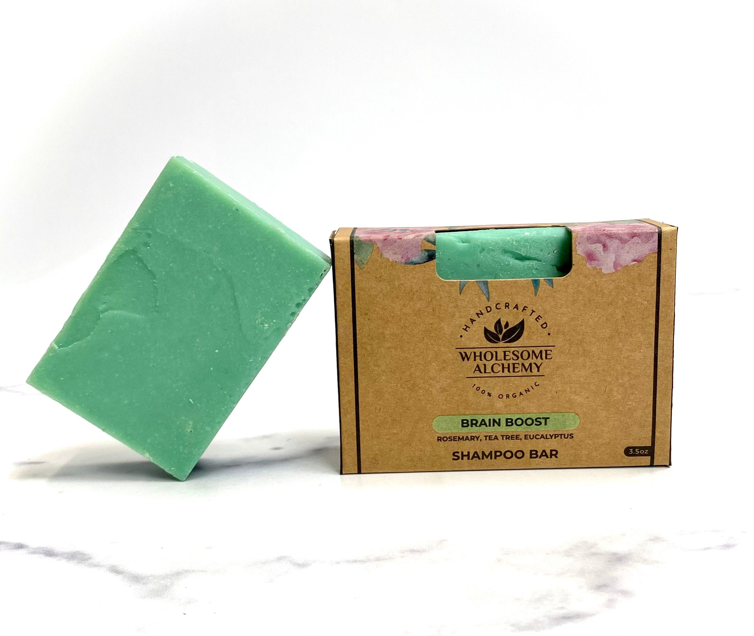 Vegan Organic Essential Oil Shampoo Bar (Brain Boost: Rosemary, Tea Tree, Eucalyptus)