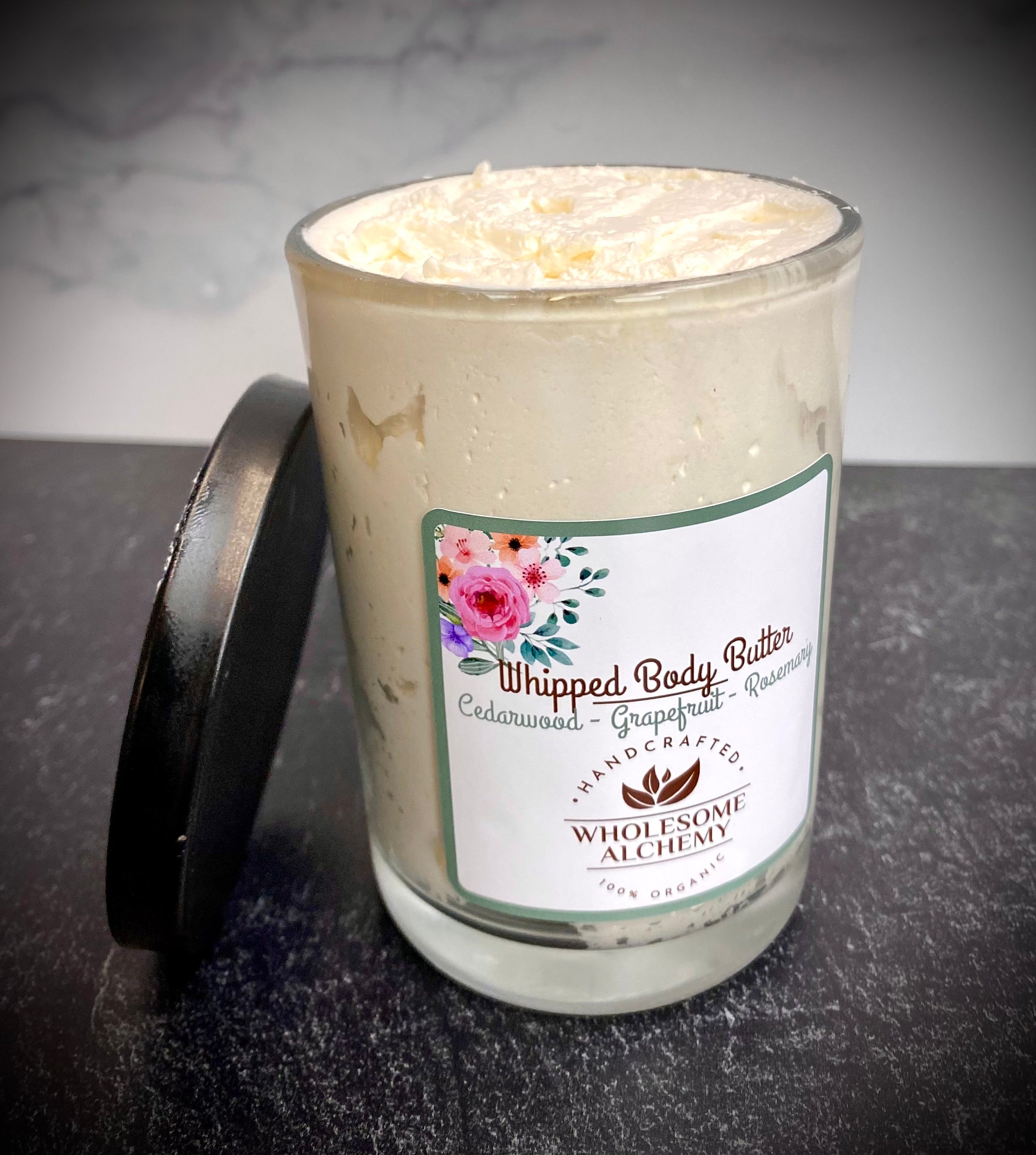 Organic Vegan Whipped Body Butter (Cedarwood, Grapefruit, Rosemary Essential Oils)