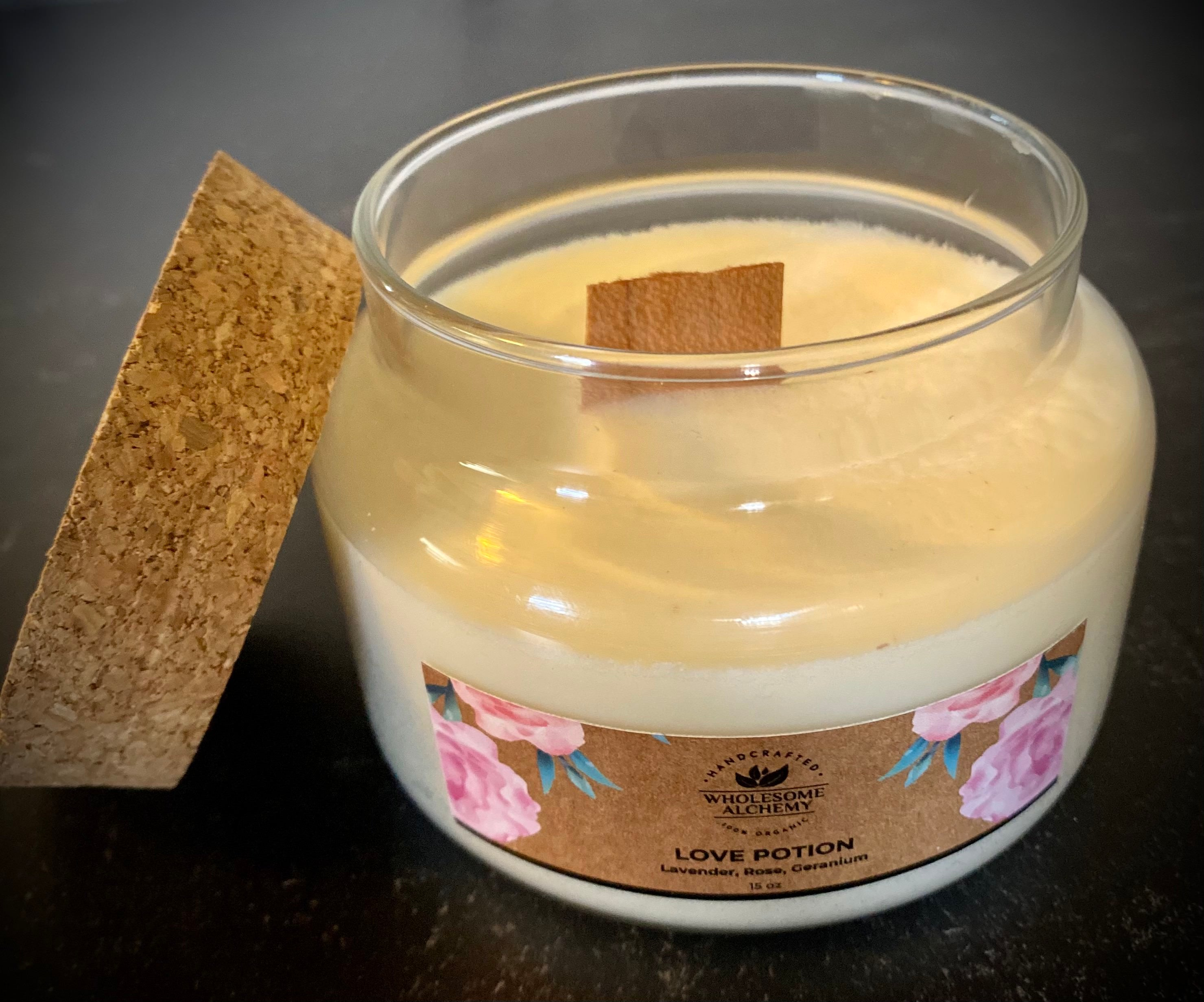 15 oz Organic Soy Wax Essential Oil Candle (Love Potion)