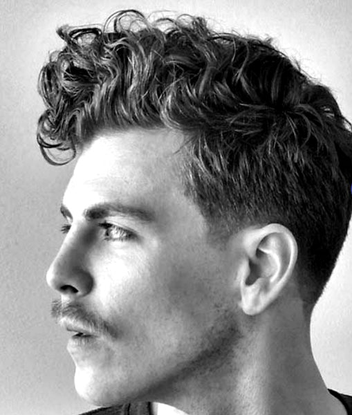 classic curly quiff with mustache haircut