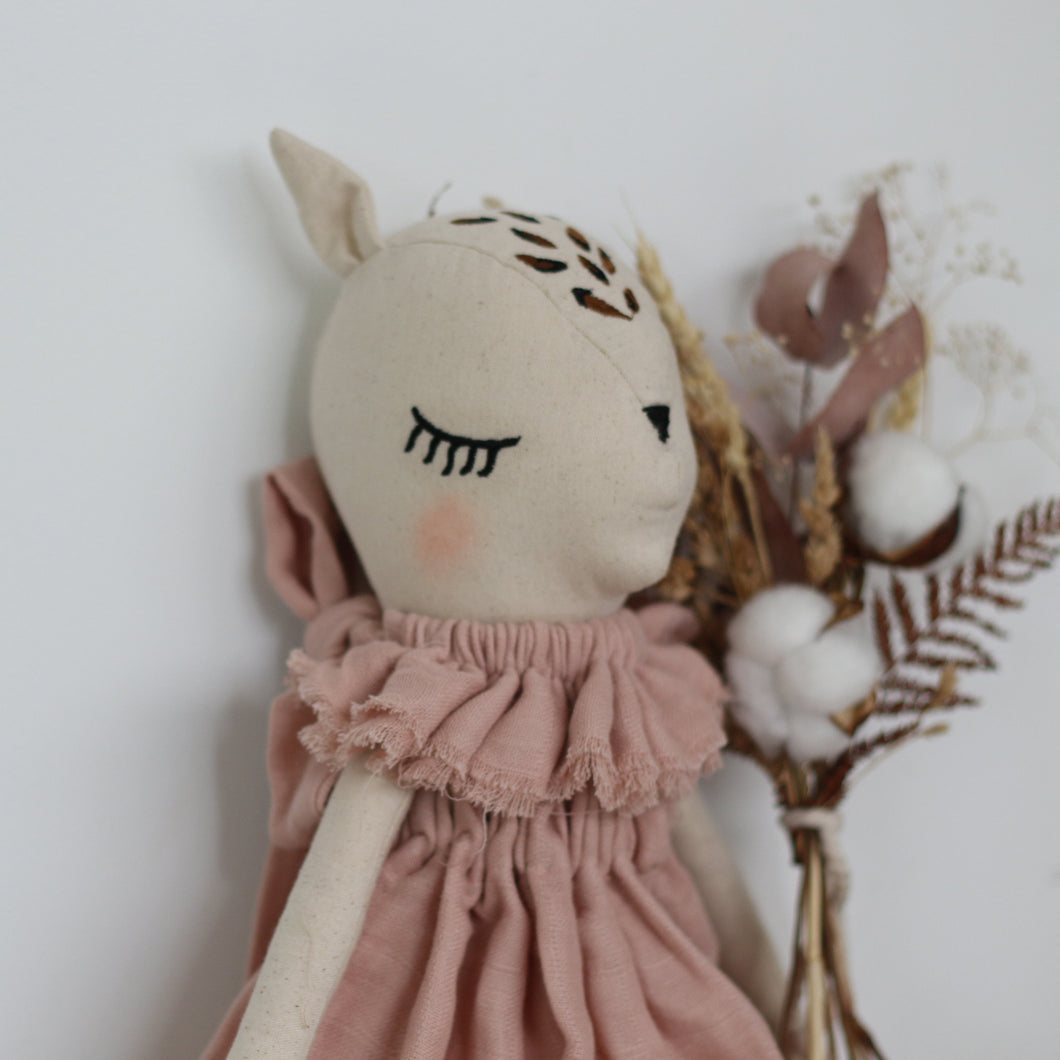 BURROW & BE Fleur le Fawn Doll - With Dusky Pink Dress