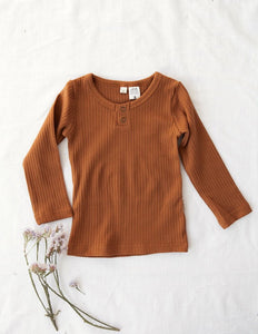 KARIBOU KIDS Willow Long Sleeve Henley Cotton Top - Antique Gold
