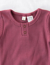 Load image into Gallery viewer, KARIBOU KIDS Willow Long Sleeve Henley Cotton Top - Garden Rose