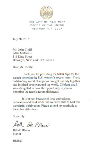 Thank you letter from the Mayor of NYC