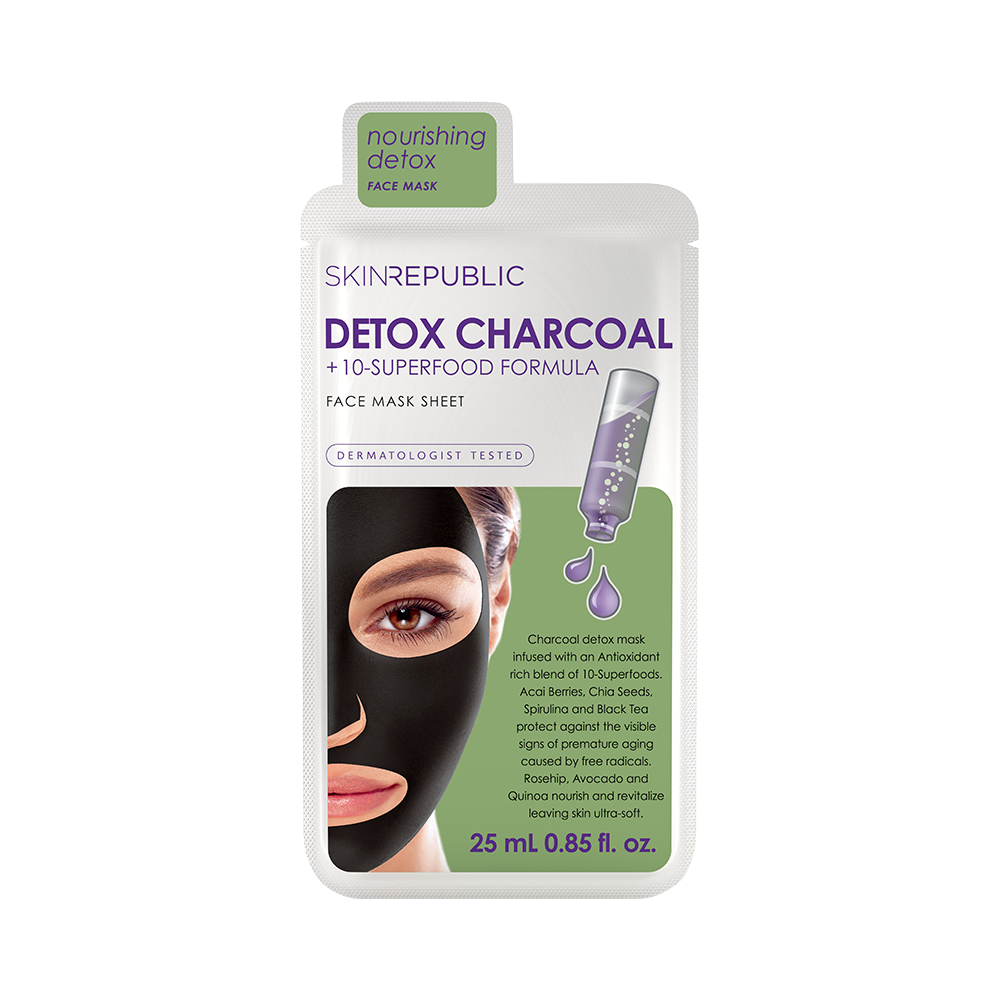 Detox Charcoal + 10-Superfood Formula Face Mask Sheet - Skin Republic South Africa