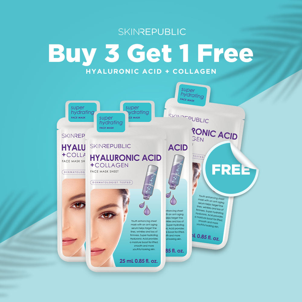 Buy 3 Get 1 FREE - Hyaluronic Acid + Collagen Face Mask Sheet