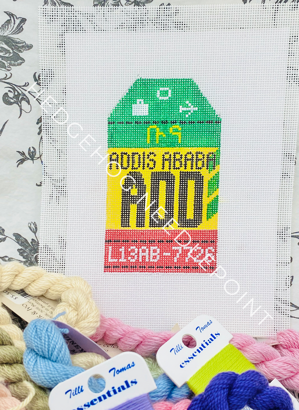 Addis Ababa Retro Travel Tag Needlepoint Canvas