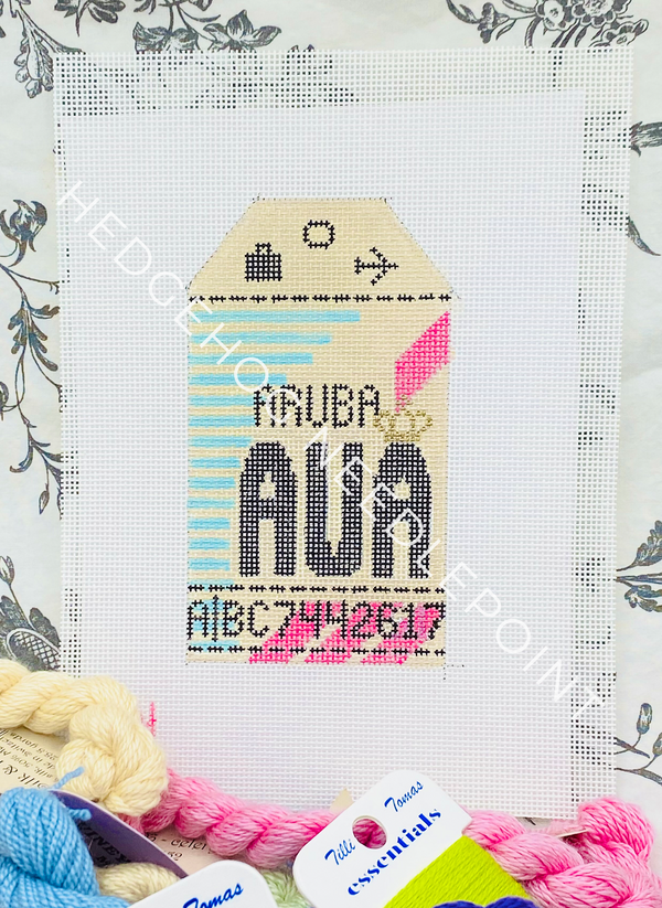 Aruba Retro Travel Tag Needlepoint Canvas