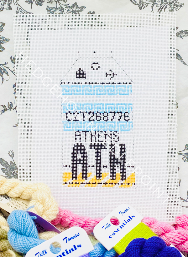Athens Retro Travel Tag Needlepoint Canvas
