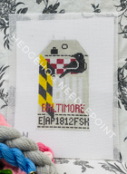 Baltimore Retro Travel Tag Needlepoint Canvas