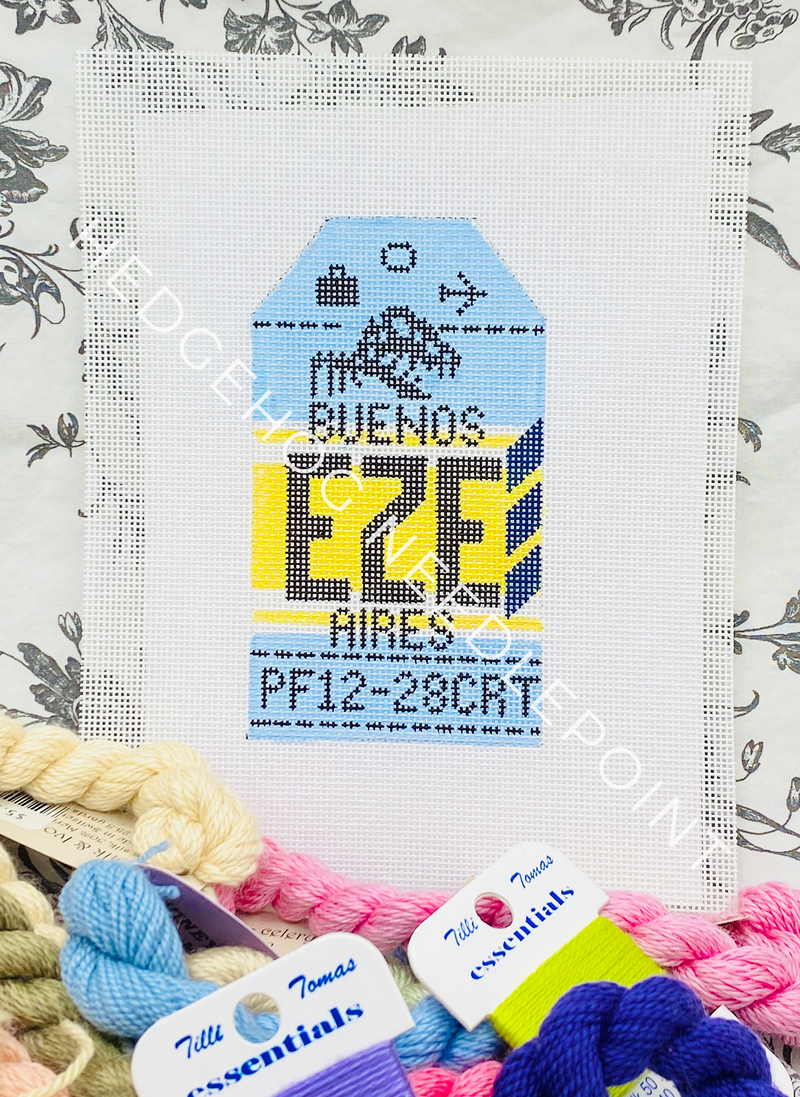 Bueno Aires Retro Travel Tag Needlepoint Canvas