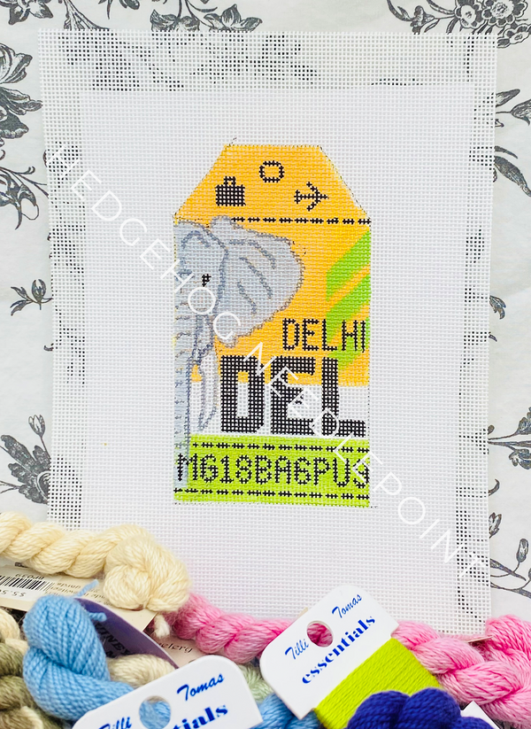 Delhi Retro Travel Tag Needlepoint Canvas