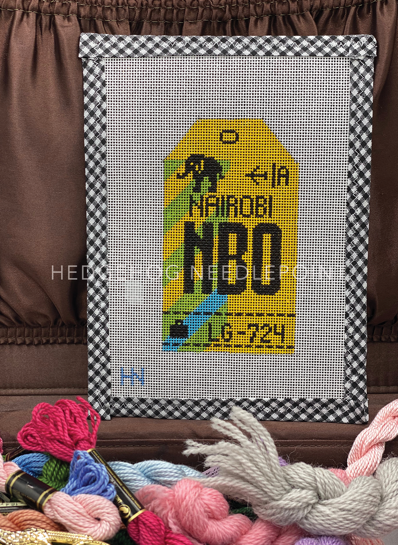 Nairobi Retro Travel Tag Needlepoint Canvas