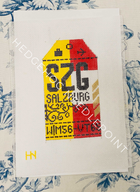 Salzburg Retro Travel Tag Needlepoint Canvas