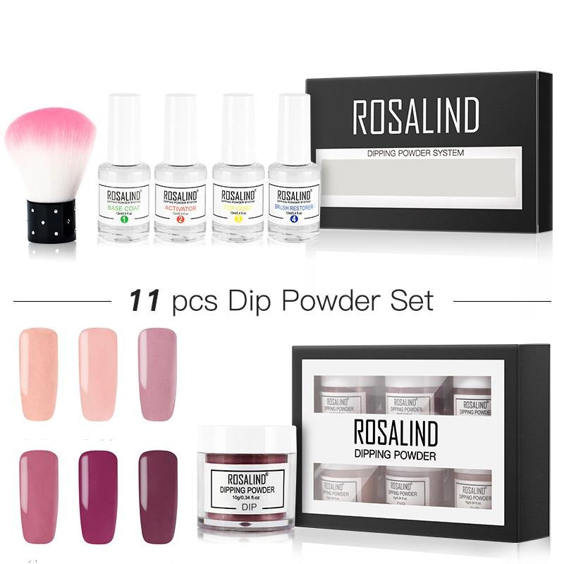 ROSALIND Set Dip Powder Glitter Kit for Nail Art Holographic Matt Decorations All For Manicure Natural Dry Without Lamp Cure