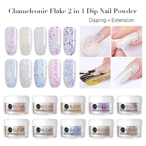 UR SUGAR 5ml Chameleon 2 in 1 Dipping Nail Powder Acrylic Powder Finger Extension Glitter Sequins Dip Nails Powder Decoration
