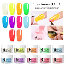 Load image into Gallery viewer, UR SUGAR 5ml Fluorescence Dip Nail Powder 3 IN 1 Acrylic Powder Nail Decoration Glow In Dark Natural Dry Without Lamp Cure