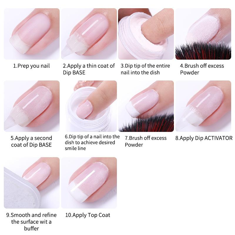 BORN PRETTY 10ml Glitter Dipping nail Powder Nail Art Gradient French Dip nail Power Without UV Lamp Cure Nail Art Decoration