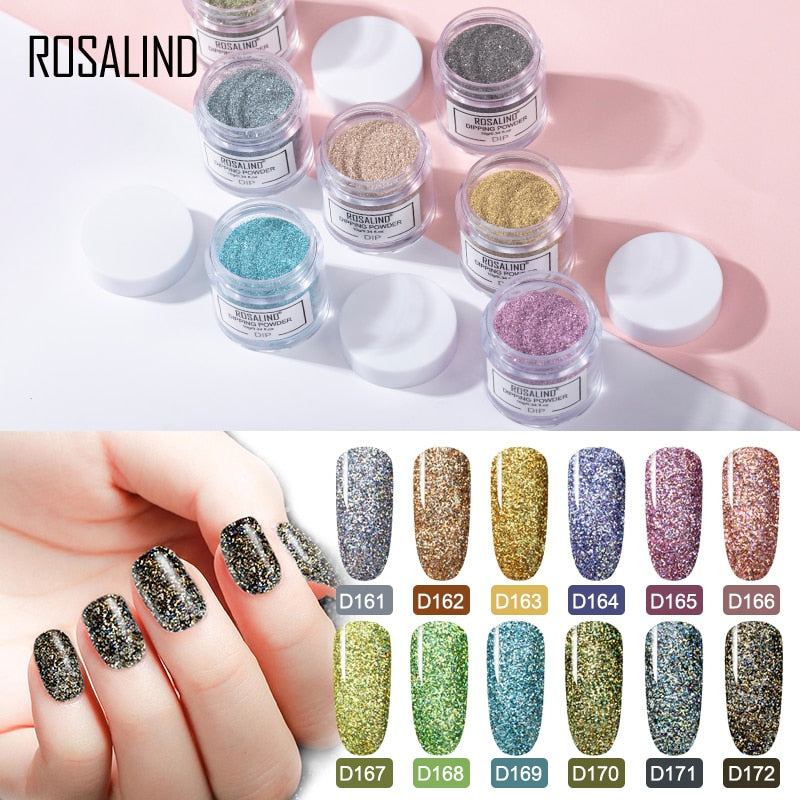 ROSALIND Dip Powder Nail Art Polish Gradient Shining Chrome Pigment Dipping Powder Set Holographic Glitter Nail Flakes Sequins