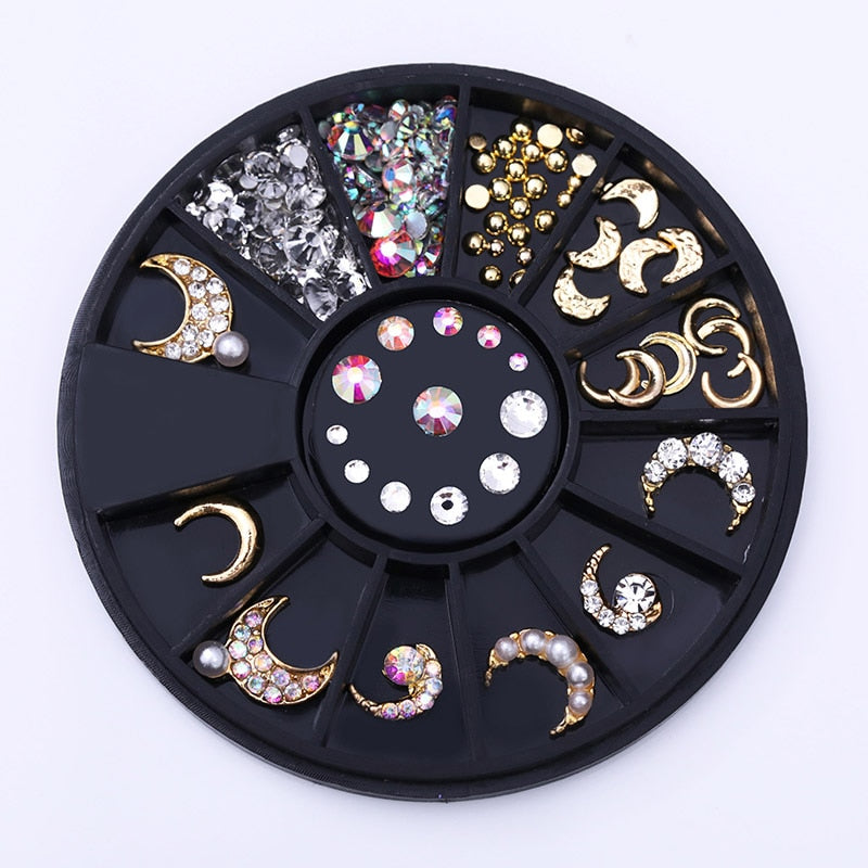 GLITZ Mixed Crescent Moons Jeweled Nail Art